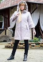 Зимнее женское бежевое пальто NEWAGE ТМ Vicco 46-56 размеры