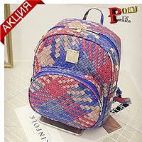 Рюкзак женский плетеный с шипами  (красный)