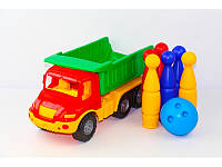 """Детская игрушка машинка COLORPLAST """"Атлантис"""" самосвал с кеглями"""