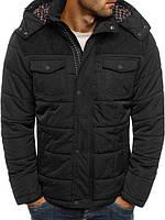 Чёрная мужская зимняя куртка с капюшоном | Два дополнительный кармана на груди