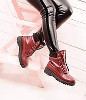 Зимние женские ботинки Balmain (балман). Натуральная кожа. Цвет марсала