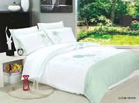 Комплект постельного белья  сатин с вышивкой LUZAN GREEN евро