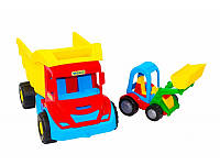 """Детская игрушка машинка WADER """"Самосвал с трактором"""""""