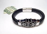 Стильный кожаный браслет с нержавеющей стали арт 2709
