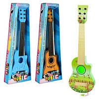 Гитара 188-90-92 (48шт) 54см, струны 6шт, медиатор, 3 вида, в кор-ке, 58-20,5-6,5см