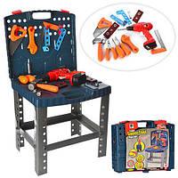 Набор инструментов 661-74 (12шт) верстак, дрель-механич.вращ.сверло,50предм,в чемодане,39,5-34-7,5см
