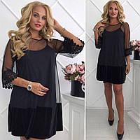 Платье Коктейльное роскошный бархатный колокольчик  чёрное Батал