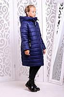 Зимнее пальто для девочки Ангел джинс