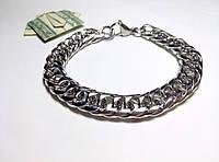 Масивный мужской браслет из  нержавеющей стали, серебристый арт 2143