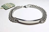 Масивный мужской браслет из  нержавеющей стали, серебристый арт 2144