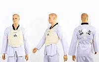 Защита корпуса (жилет) для каратэ детская DAE BO-5384 (PU, р-р XXS-L-4-14лет, белый)