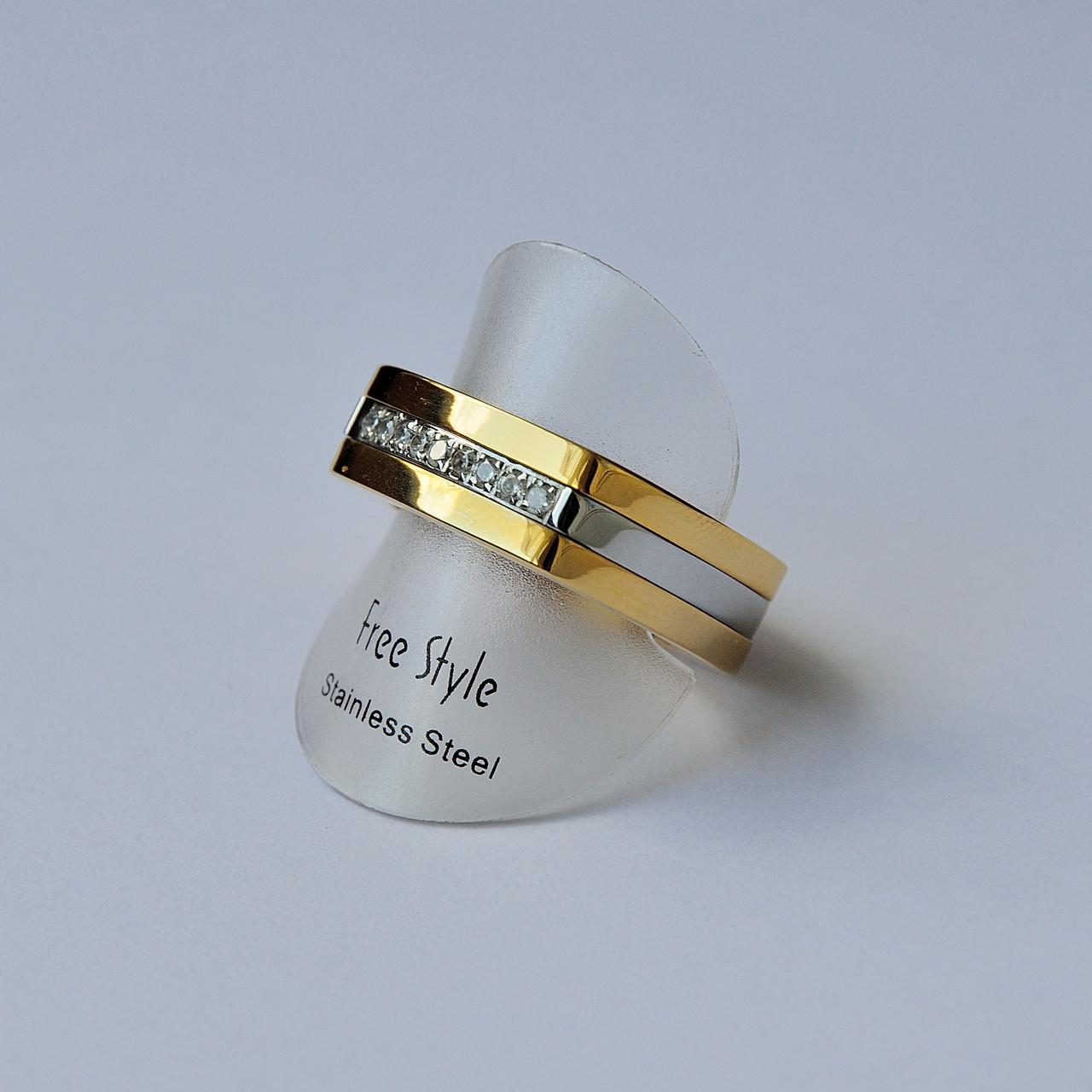 Золотое стальное кольцо унисекс