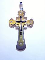 Крестик из нержавеющей медицинской стали с позолотой арт 5516