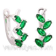 Серебряные серьги с зелеными цирконами С2ФИ/389
