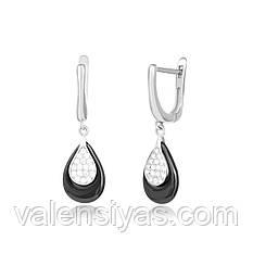 Серебряные серьги-подвески с черной керамикой С2ФК/1011
