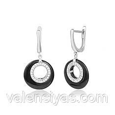 Модные серебряные серьги с черной керамикой С2ФК/1012