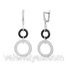 Серебряные серьги-подвески с черной керамикой С2ФК/1013