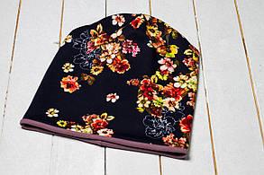 Трикотажная шапка «Осенние цветы»
