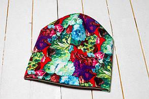 Трикотажная шапка «Бирюзовые цветы»