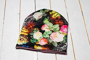 Трикотажная шапка «Зеленые цветы»