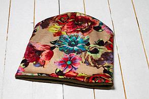 Трикотажная шапка «Весенние цветы»