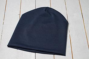 Трикотажная шапка «Серо-синий цвет»