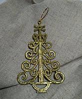 Подвеска новогодняя Елка золотая, декор 8,5х14,5 см (2 шт)