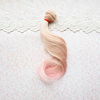 Волосы для Кукол Легкая Волна ПЕРСИК с РОЗОВЫМ Омбре 20 см