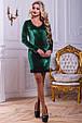 Красивое нарядное женское платье 2443 зеленый, фото 2
