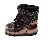 Дутики/сапоги-луноходы женские louis Vuitton зимние кожаные на шерстяном меху цвет марсала Ko0050