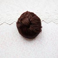Волосы для кукол короткие в трессах пряный каштан - 5 см