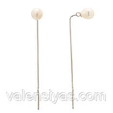 Серебряные серьги-цепочки с жемчужинами С2Ж/847А