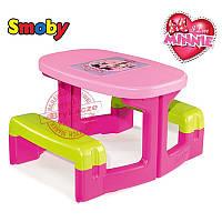 Столик парта с лавочками для улицы и дома Minnie Smoby 310291