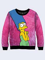 """Стильный Свитшот """"Мардж"""" с изображением героини популярного мультсериала из качественного материала."""