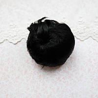 Волосы для кукол короткие в трессах холодный черный - 5 см
