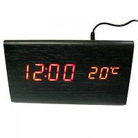 Электронные цифровые настольные часы дерево VST 861 подсветка Red