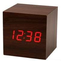 Электронные цифровые настольные часы дерево VST 1293 подсветка Red