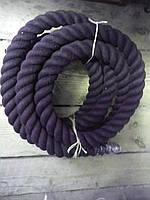 Хлопчатобумажный крученый канат d 45мм х/б канат для Кросфита для лазания перетягивания спортивный черный