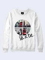 """Оригинальный женский свитшот белого цвета """"Париж"""". Материал: 100% хлопок."""