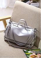 Вместительная женская сумка на плече цвета Серебра