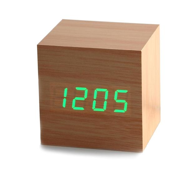 Электронные цифровые настольные часы дерево VST 1293 подсветка Green