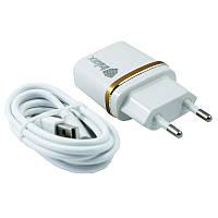 Быстрая сетевая зарядка 2.1A USB Inkax CD-11+кабель Micro USB