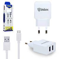 Зарядка сетевая СЗУ Inkax CD-01 2USB 2.1A + micro cable