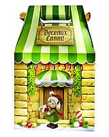 """Новогодняя упаковка картонная """"Большой домик зеленый кофе"""" 700-800 г."""