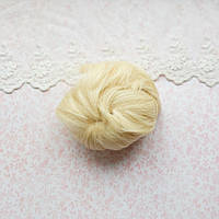 Волосы для кукол короткие в трессах блонд - 5 см