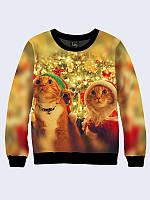 """Модный женский свитшот/джемпер с новогодним принтом/рисунком """"CHRISTMAS CATS"""", размеры XXS-XL."""