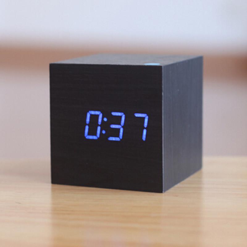 Электронные цифровые настольные часы дерево VST 1293 подсветка Blue