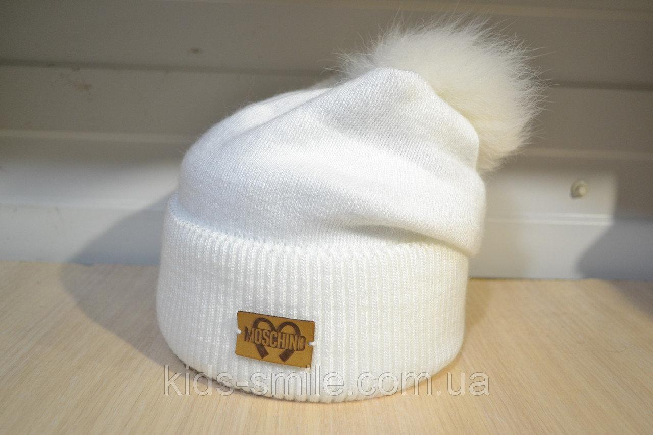 Молодежная шапка на флисе с бубоном цвет белый и молочный