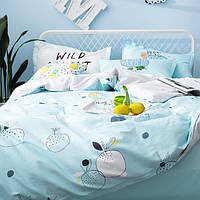 Постельное белье Нежный Апельсин саржа 100% хлопок комплект полуторный с простыней на резинке, кровать 1.5м