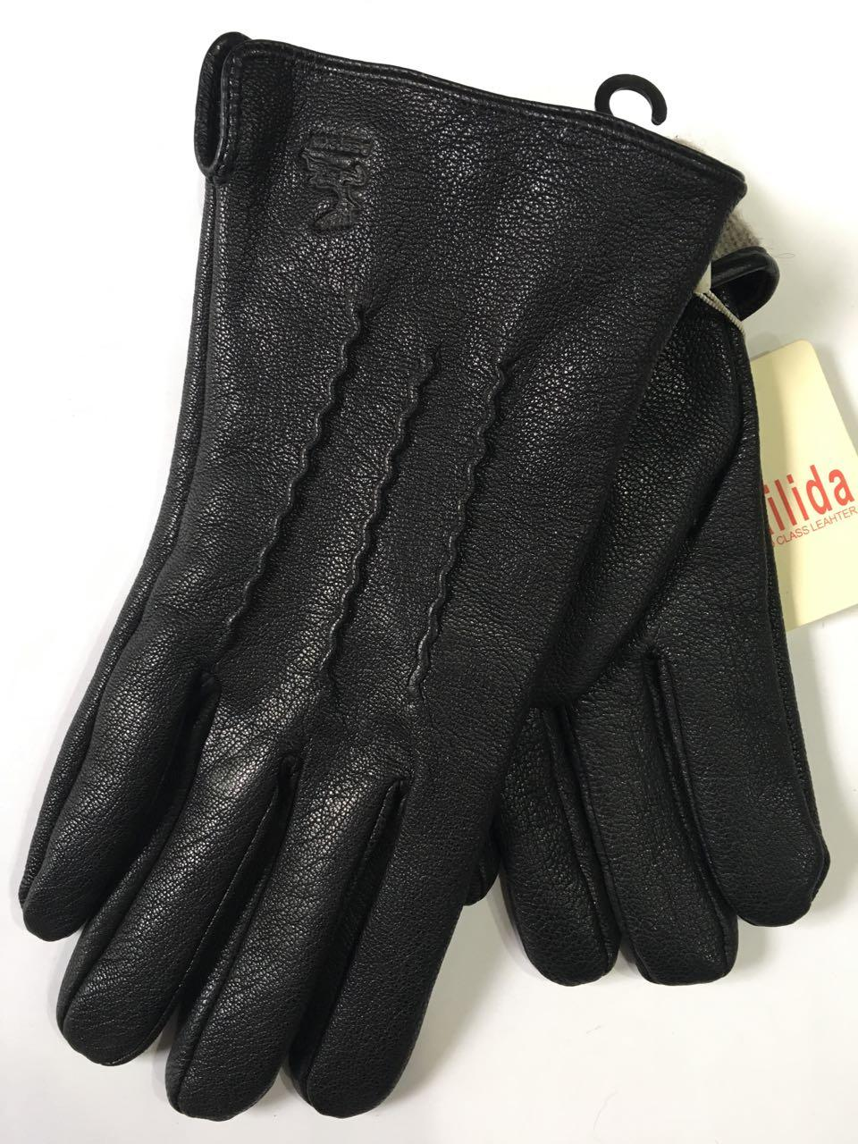 Мужские перчатки кожа оленя на шерсти(сетка) оптом от 5 пар